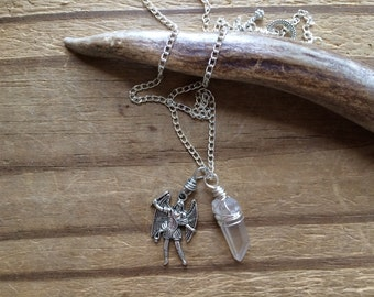 Arch Angel Michael and crystal point pendant necklace, angel jewelry