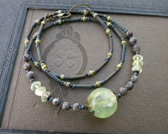 Prehnite Sphere Bead Necklace, celery green Bohemian or tribal style stone crystal jewelry in yellow green and brown
