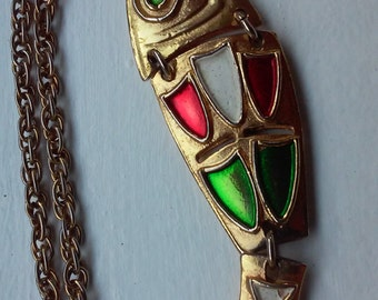 70s ENAMEL FISH Necklace--Extra Long Chain--Red, Green and White Enamel