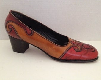 Civitas Shoes Womens Heels Size 8 Narrow Made in Italy 8N Vintage Pumps Leather