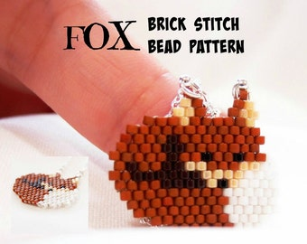 Fox  - Beading PATTERN, Beaded Animals, Delica Beads Brick Stitch