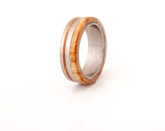Titanium Ring Titanium Wood Ring mens wedding band wood