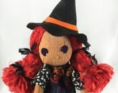 Witch Doll - Cloth Witch Doll - Cloth Halloween Doll- Witch Art Doll- Gift For Goths - Sugar Skull Witch- Gothic Gift- Halloween Party Decor