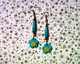 Aqua Blue and Yellow Flower Earrings (2226)