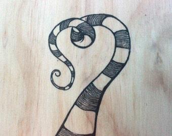 Swirly Heart (on wood)