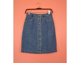 90s Eddie Bauer High Waist Denim Pencil Skirt