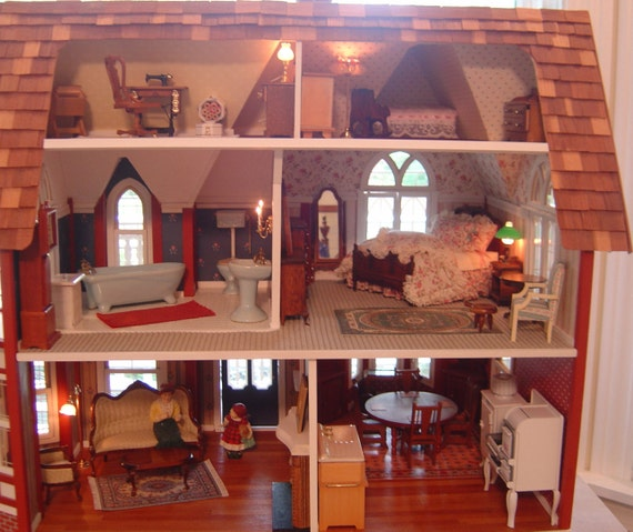 Dollhouse Full Scale 1:12 Built From A Kit  Layaway Plan Available PICK UP ONLY or Possible Delivery Option