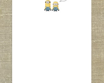 Minions Despicable Me Thank You Cards set of 12 with matching envelopes & return address printing; customizable for girls and boys