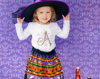 Halloween Outfit, Halloween Skirt, Toddler Outfit, Baby Girl, Personalized Shirt, Boutique Clothing