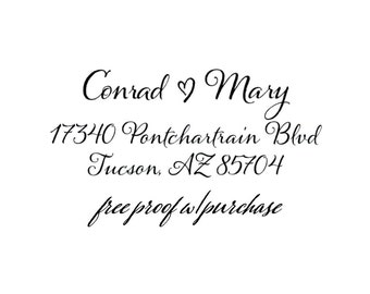 Return Address Stamp - Custom Calligraphy with a heart.  Pick Mounted with Handle and Self-inking Return Address Stamp  (20368) 2 1/2 x 1