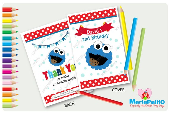 6 Cookie Monster Coloring Books, Personalized Coloring Books, Sesame ...
