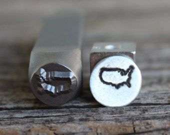USA Metal Stamp-8mm Image Size-Steel Stamp-New-by Metal Supply Chick