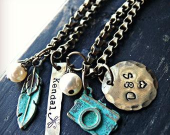 Personalized Bracelet - Hand Stamped Bracelet - Brass and Patina Bracelets - Personalized Camera bracelet - Personalized Feather Bracelet