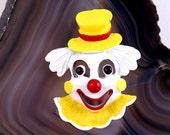 CLOWN BROOCH VINTAGE Retro Fashion Costume Jewelry Circus Clown Pastel Goth Creepy Cute Enamel Horror Gift