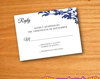 Printed Navy Floral Wedding Invitation Reply Cards
