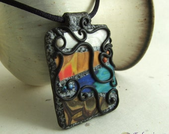 Four Elements black filigree polymer clay pendant on adjustable satin cord necklace, Earth Air Fire Water