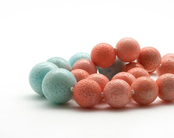 Coral Necklace, Pink & Blue Coral Beaded Necklace, Wedding Pink Necklace, Bridal Blue Jewelry, Everyday Pastel Necklace, Coral Jewelry
