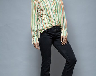 disco striped top shirt vintage 70s stripes floral yellow green red long sleeves L XL large - extra large