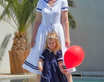 DRESS SOMMERFRISCHE, Blue Children's Sailor Dress With White Stripes, Short-Sleeved, Button Front Closure,Maritime Festive Summer Dress