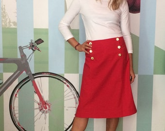 SKIRT AHOI WOMAN, Red Sailor Skirt, A-Shape, Sailor Flap With Gold Buttons, Knee-Length, Cotton Linen Blend, Classical, Maritime Style
