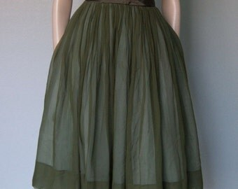 1950s Jr Theme Tapestry and Silk Chiffon Dress // Satin Trim and Rhinestones