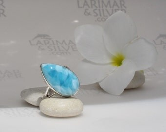 Larimar ring, Sea Painting - turquoise blue Larimar teardrop, sea blue pear, turquoise pear, azure, Caribbean blue, handmade ring size 7.5
