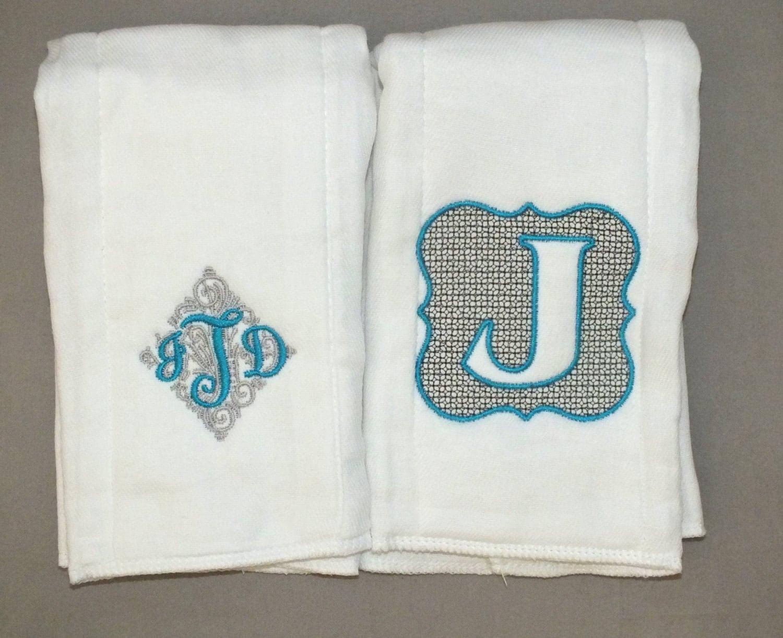 Personalized baby boy burp cloths monogrammed baby boy burp