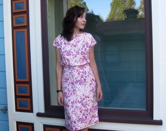 vintage 1950s dress all Silk floral Sheath Handscreened classic Sir james S