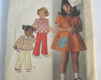 Toddler Girls Dress or Top and Pants Size 2 Breast 21 Waist 20 Vintage 1970's Simplicity Pattern 7604 Cut/Complete