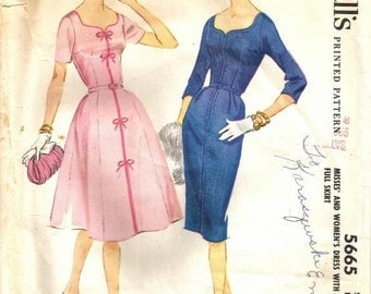 1960s Fit and Flare or Sheath Dress Sweetheart Neckline Plus Size Dart Fitted Bow Trim McCall's 5665 Bust 44 Women's Vintage Sewing Pattern