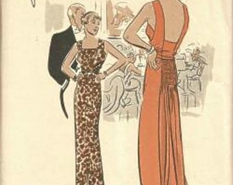 1930s Backless Evening Gown with Train Shirring Bias Bodice Vogue Special Design Vogue S-3749 Bust 32 Women's Vintage Sewing Pattern