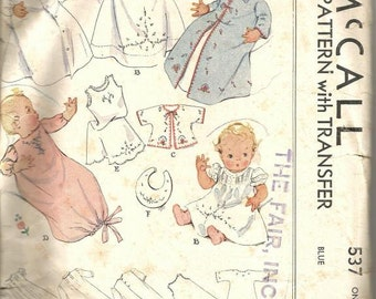 1930s Baby Layette with Transfer 18 or 21 Inches Embroidered Nightgown Dress Kimono Slip Bib Infants McCall 537 Vintage Sewing Pattern