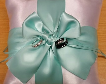 Mint and white Wedding Ring bearer pillow, beautiful white and mint satin
