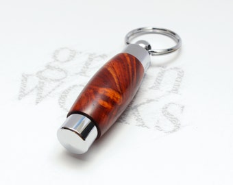 Wood Perfume / Aromatherapy Holder Key Chain - Cocobolo with Chrome Accents (Gift Ready)