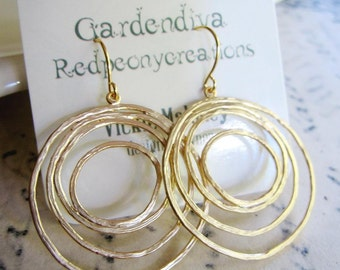 Gold Modern Circle Earrings, Gold Chandelier Earrings, Simple Everyday Earrings, Redpeonycreations