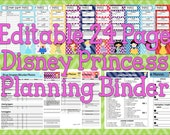 Instant Download Editable Disney Princess Planning Binder, Binder Cover, Agenda, Itinerary, Mickey Mouse