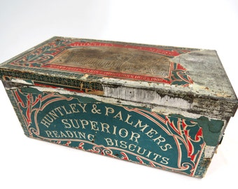 Huntley & Palmers Biscuit Tin, Superior Reading, Paris Expedition, Antique Metal Storage Container