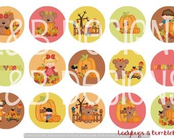 """1"""" Bottle Cap Image Sheet - Happy Fall Bears"""