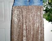 Romantique vintage lace jean skirt sheer delicate taupe shimmery sparkle boho chic feminine sexy bohemian altered Renaissance Denim Couture