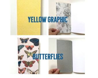 Midori Fauxdori MTN Travelers Notebook Doodle Journal Insert . Agenda Organiser Listers Inserts Sketchbook Blank Unlined Pages . Butterflies