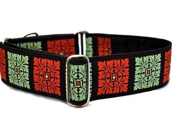 Martingale Collar: Rust and Sage Squares - 2 Inch, Greyhound Collar, Martingale Dog Collar, Custom Dog Collar, Whippet Collar