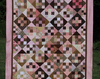 Pink and Brown Nine Patch and Hourglass Quilt