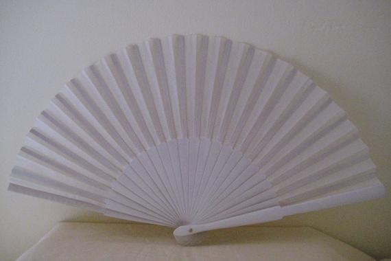 Regency/Victorian Style Fan. Ivory Plain Cotton/Painted Wood. Bridal Favour.