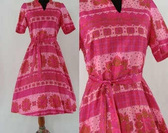 Vintage Sixties Dress - 1960s Pink Silk Dress - 60s Thai Silk Fit and Flare Dress - Full Skirt Dress - Large