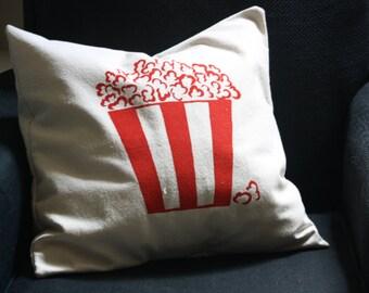 Popcorn hand made silkscreen pillow cover