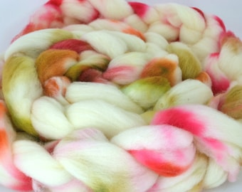 Cormo Wool Top, Hand Dyed, Spinning and Felting Fiber Colorway- Orchard 4oz