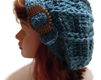 Buckle Tab Beret Hat Dusty Blue Tam Buckle Tab Cabled Beanie with Vintage Brown Buckle