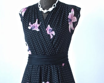 Dress Sweet 70's Black Polka Dot Floral Faux Wrap size X-Small