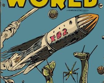 SPACE DINOSAURS Pulp Vintage Sci Fi Art Print ROCKET Mars Moon Aliens