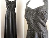 1940s Black & gold taffeta halterneck evening dress / 40s floor length dress - XXXL